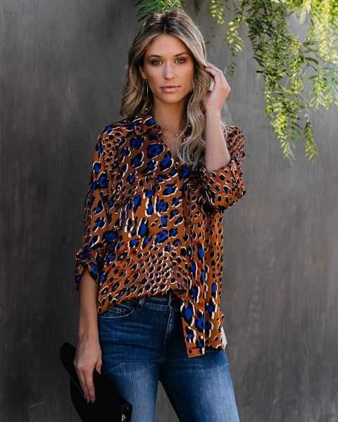 Diego Satin Relaxed Button Down Blouse - FINAL SALE