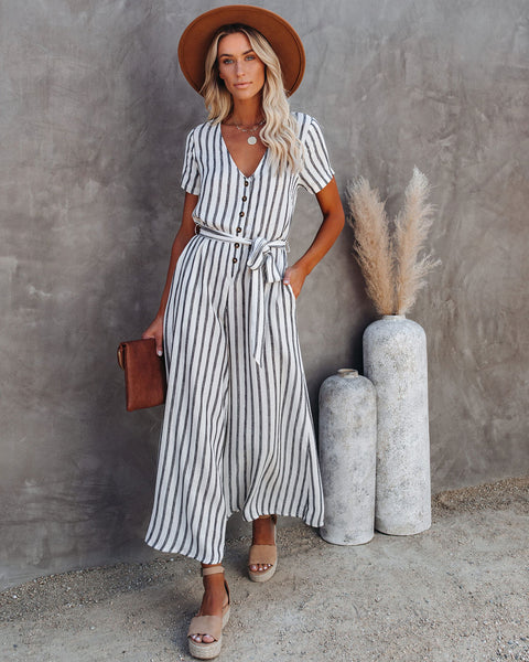 Dillard Linen Blend Pocketed Striped Jumpsuit