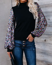 Disco Fever Sequin Sleeve Mock Neck Knit Top