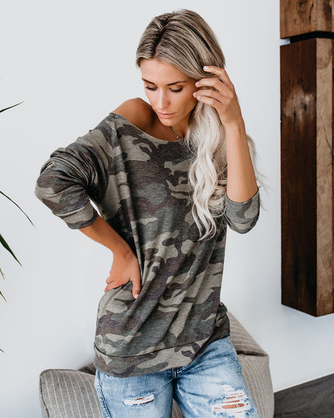 Disguised Camo Relaxed Knit Top