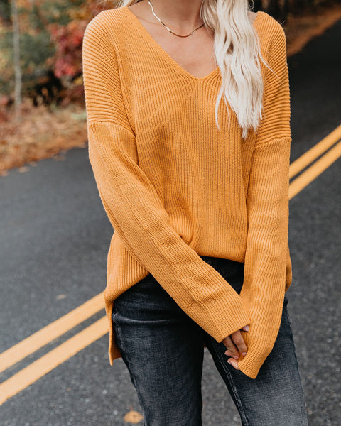 Divine Intervention Ribbed Knit Sweater - Mustard