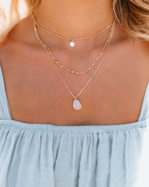 Divinity Layered Druzy Necklace - White