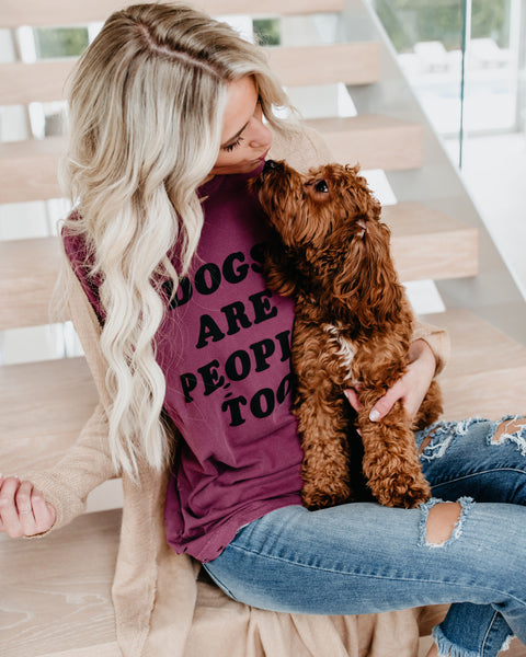 Dogs Are People Too Distressed Cotton Tee