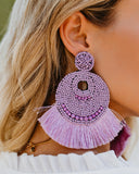 Doll House Beaded Fringe Statement Earrings - Lilac