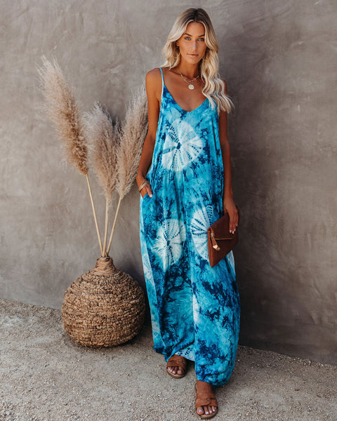 Dolphin Pocketed Tie Dye Olivian Maxi Dress