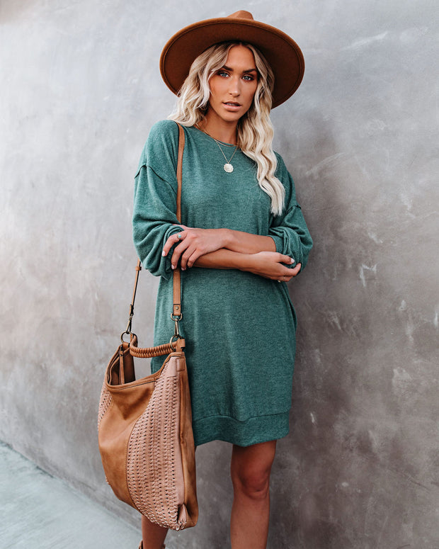 Donner Pocketed Knit Sweater Dress - Sea Green