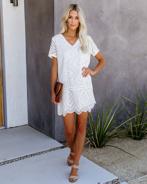 Don't Be Salty Cotton Eyelet Shift Dress