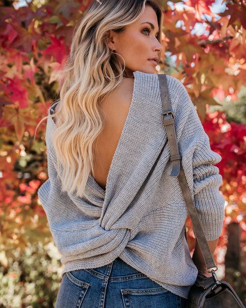 Don't Get It Twisted Sweater - Heather Grey