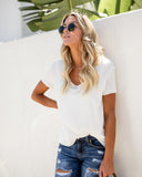 Double The Fun Knit Layer Top - White