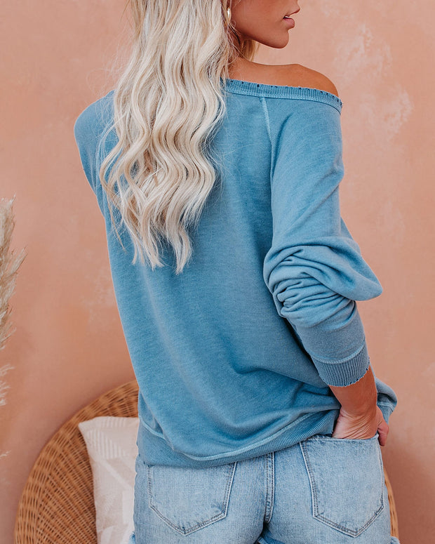 Down In The Sand French Terry Cotton Blend Pullover - Sky