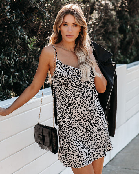 Down The Boulevard Leopard Mini Slip Dress
