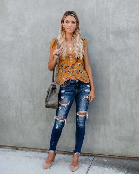 Down To An Art Floral Top