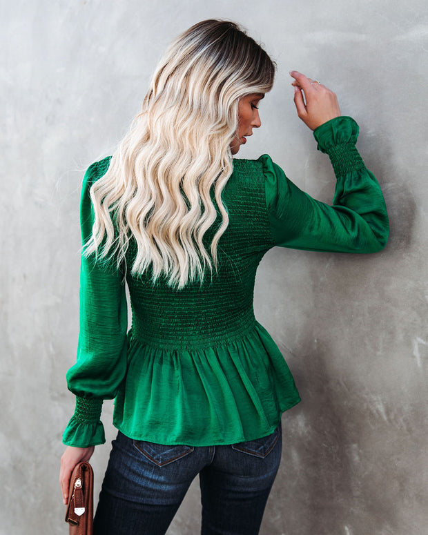 Down To Business Smocked Blouse - Emerald view 3
