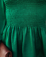 Down To Business Smocked Blouse - Emerald view 4
