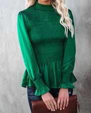 Down To Business Smocked Blouse - Emerald view 5