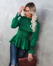 Down To Business Smocked Blouse - Emerald view 1