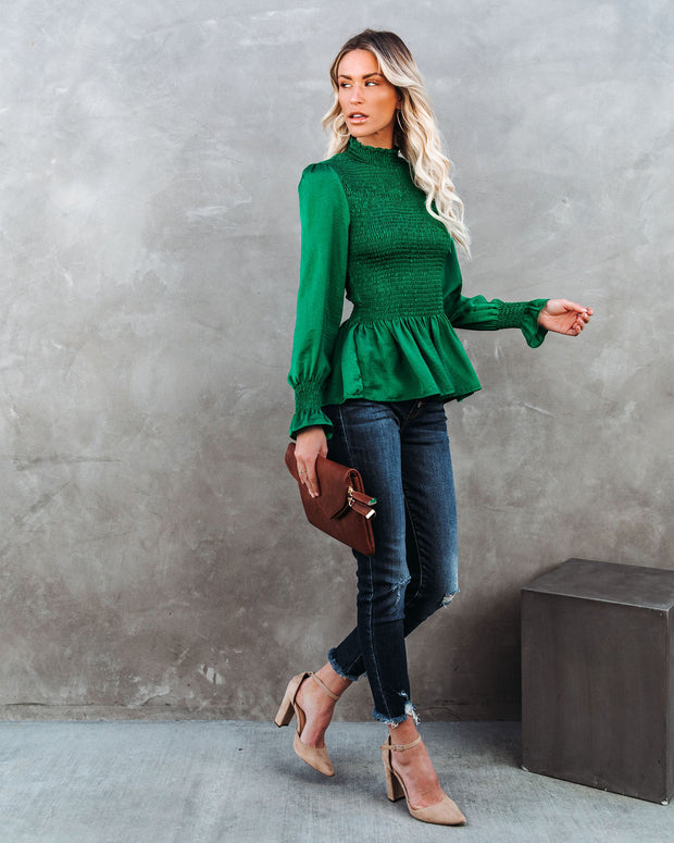Down To Business Smocked Blouse - Emerald view 9