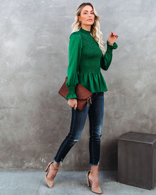 Down To Business Smocked Blouse - Emerald view 6