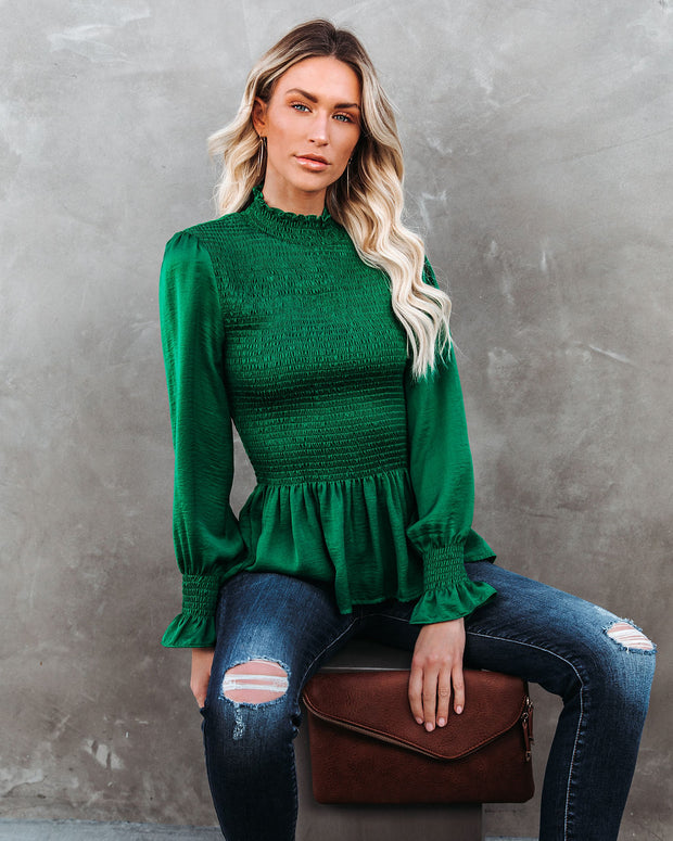 Down To Business Smocked Blouse - Emerald view 10