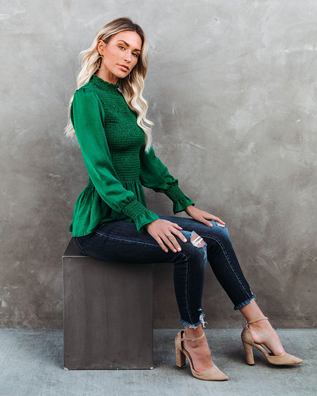 Down To Business Smocked Blouse - Emerald view 11