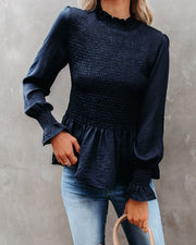 Down To Business Smocked Blouse - Navy