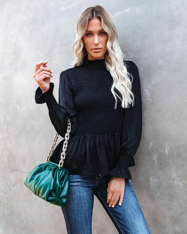 Down To Business Smocked Blouse - Onyx