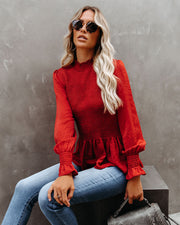 Down To Business Smocked Blouse - Terracotta