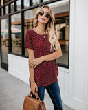 Down To Earth Short Sleeve Blouse - Wine