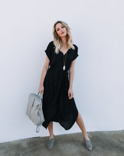 Do Your Thing Tie Midi Dress - Black