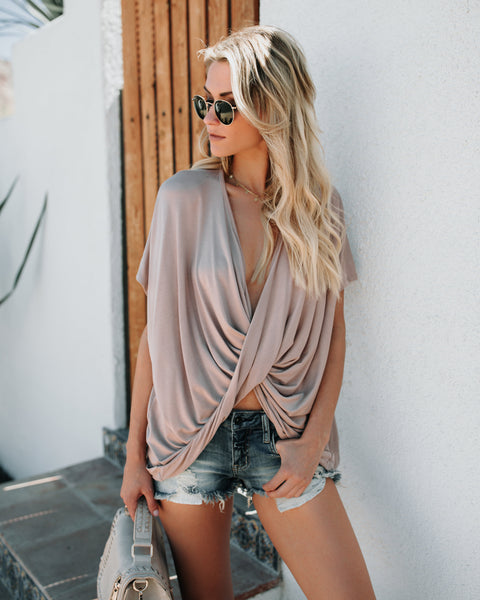 Fell For You Twist Front Top - Mauve - FINAL SALE