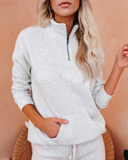 Dreamcatcher Cotton Blend Half Zip Pullover - Heather Sand