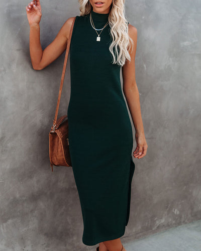 Dreamer Sleeveless Mock Neck Knit Midi Dress - Hunter Green