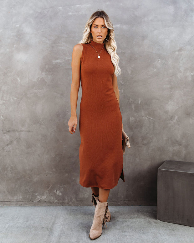 Dreamer Sleeveless Mock Neck Knit Midi Dress - Rust - FINAL SALE view 6