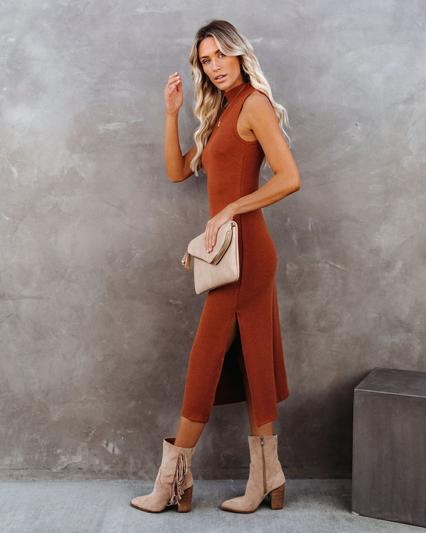 Dreamer Sleeveless Mock Neck Knit Midi Dress - Rust - FINAL SALE view 1
