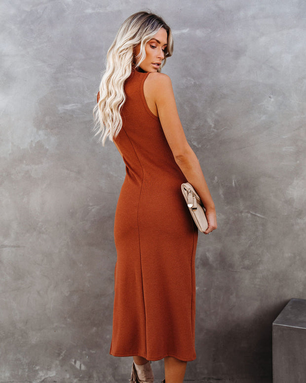 Dreamer Sleeveless Mock Neck Knit Midi Dress - Rust - FINAL SALE view 2