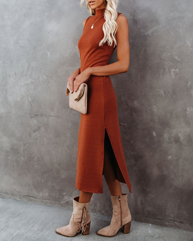 Dreamer Sleeveless Mock Neck Knit Midi Dress - Rust - FINAL SALE view 7