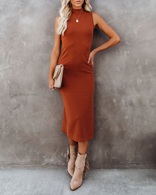 Dreamer Sleeveless Mock Neck Knit Midi Dress - Rust - FINAL SALE view 5