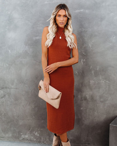 Dreamer Sleeveless Mock Neck Knit Midi Dress - Rust