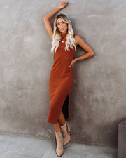 Dreamer Sleeveless Mock Neck Knit Midi Dress - Rust - FINAL SALE view 8