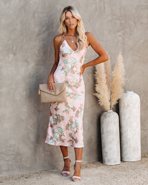 Dream Girl Floral Satin Slip Midi Dress