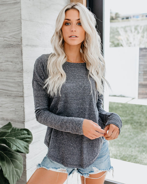 Drew Striped Knit Top - Charcoal
