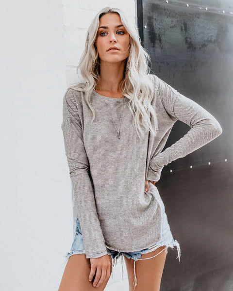 Drew Striped Knit Top - Taupe