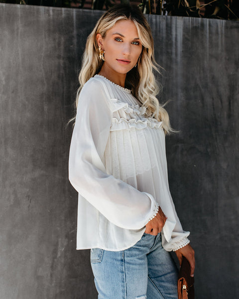 Driving Down Rodeo Pleated Ruffle Blouse - Ivory - FINAL SALE