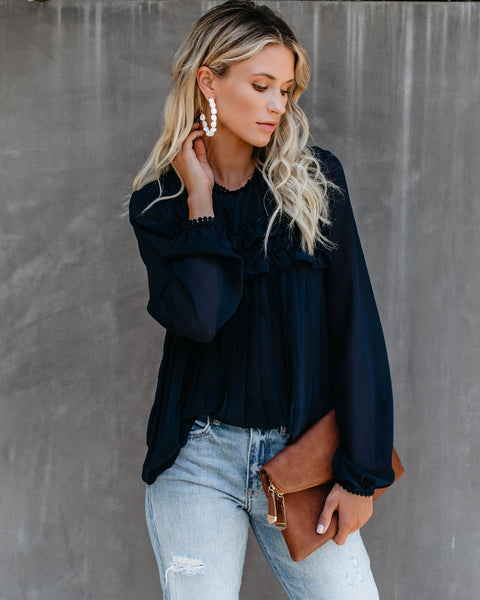 Driving Down Rodeo Pleated Ruffle Blouse - Navy - FINAL SALE
