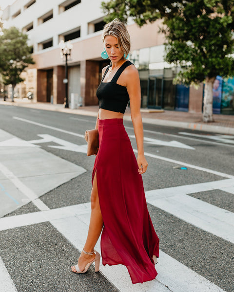 Drop Dead Gorgeous Maxi Skirt - Wine - FINAL SALE