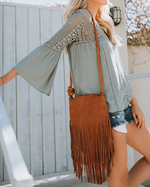 Winona Leather Fringe Crossbody Bag - Saddle