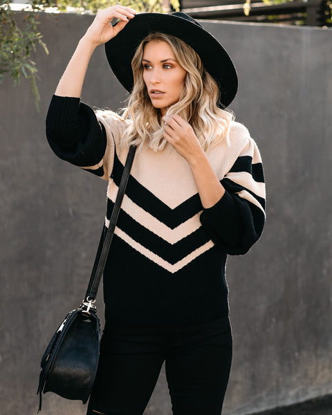 Duke Balloon Sleeve Chevron Sweater - FINAL SALE