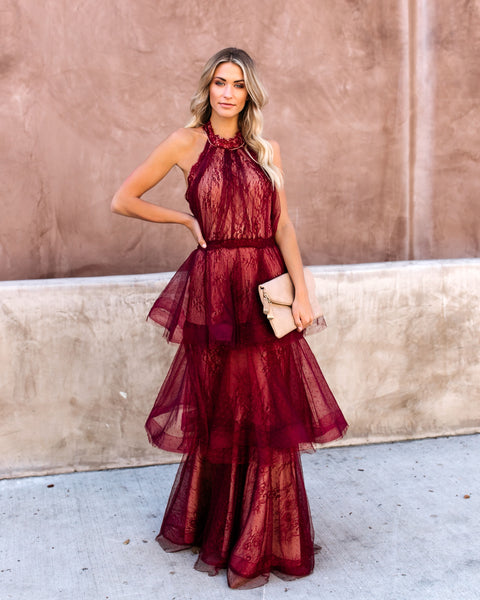 Dulce Tiered Lace Halter Maxi Gown - Wine/Nude