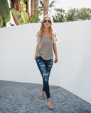 Knot Notion Distressed Linen Tee - Dusty Olive - FLASH SALE