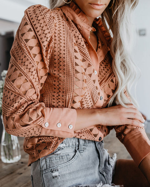 Dusty Rose Cotton Lace Blouse
